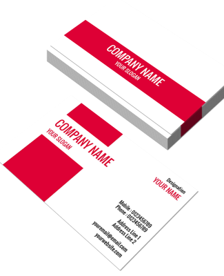 Red And White Horizontal Double Side Business Card