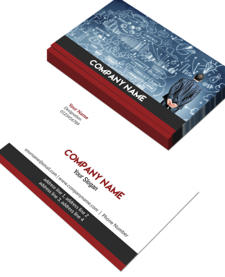 Red And Grey Horizontal Double Side Business Card