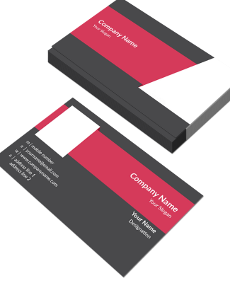 Pink And Grey  Horizontal Double Side Business Card