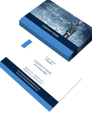 Blue And White Horizontal Double Side Business Card