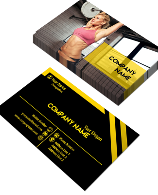 Yellow and Black Horizontal Double Side Business Card