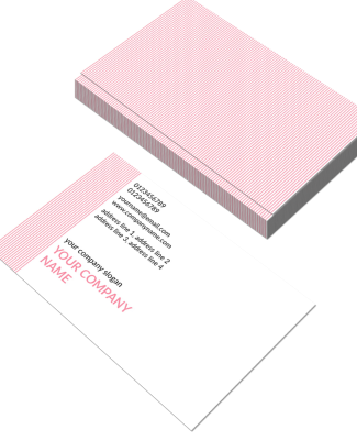 Pink Stripes Horizontal Double Side Business Card