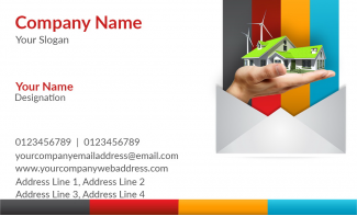 Construction Company  Horizontal Business Card