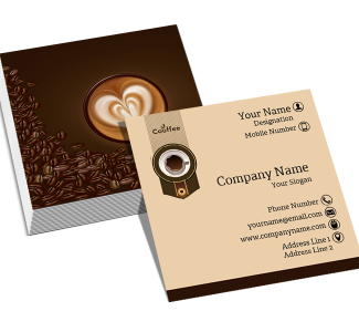 Coffee Shop Square Double Side Business Card