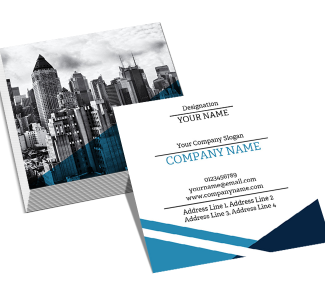 Blue Square Double Side Business Card