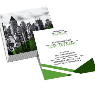 Green Square Double Side Business Card