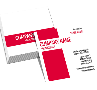 Red And White Square Double Side Business Card