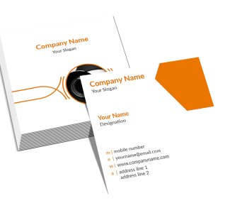 Orange Square Double Side Business Card