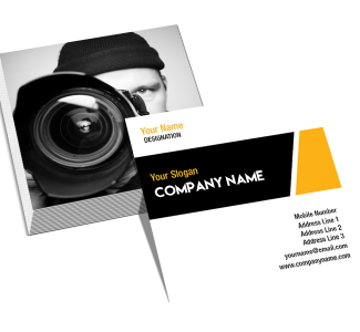 Black And Yellow Square Double Side Business Card