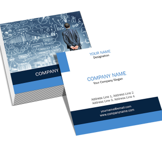 Blue And White Square Double Side Business Card
