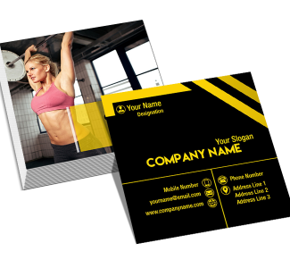 Yellow and Black Square Double Side Business Card