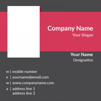 Pink And Grey  Square Business Card