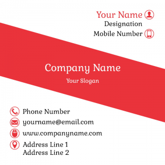Red And White Square Business Card