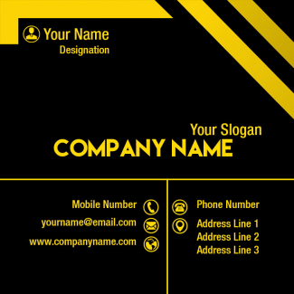 Yellow and Black Square Business Card