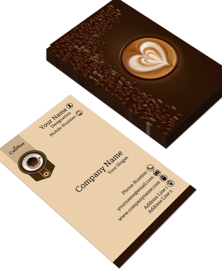 Coffee Shop Vertical Double Side Business Card