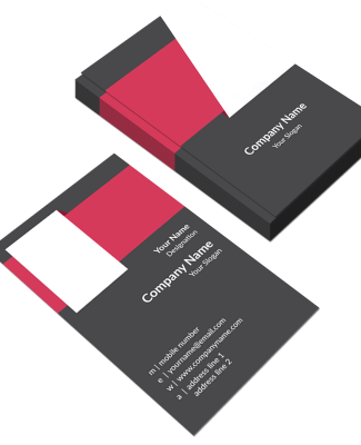 Pink And Grey  Vertical Double Side Business Card