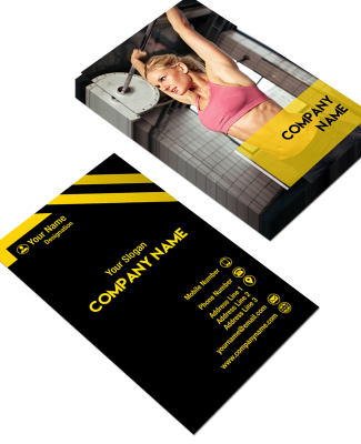 Yellow and Black Vertical Double Side Business Card