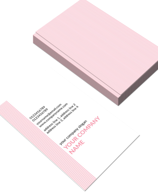 Pink Stripes Vertical Double Side Business Card