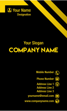 Yellow and Black Vertical Business Card