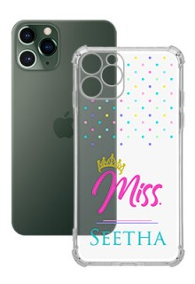 Dotted Design with Miss Text For iPhone 11 Pro Custom Transparent Clear Phone Case