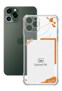 Orange Photo Frame For iPhone 11 Pro Your Photo on Transparent Mobile Cases