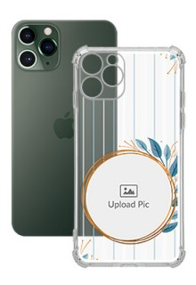 Blue Leaves Design For iPhone 11 Pro Custom Transparent Clear Phone Case