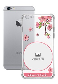 Pink Floral single image with Name For iPhone 6 Plus Personalised Transparent Clear Phone Case
