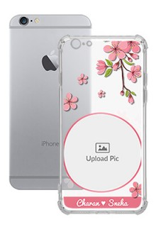 Pink Floral single image with Name For iPhone 6s Personalised Transparent Clear Phone Case