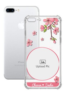 Pink Floral single image with Name For iPhone 8 Plus Personalised Transparent Clear Phone Case
