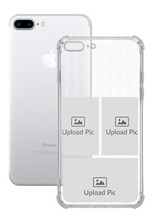 3 images with Text For iPhone 8 Plus Custom Transparent Clear Phone Case