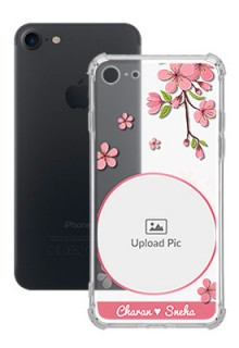 Pink Floral single image with Name For iPhone SE 2020 Personalised Transparent Clear Phone Case