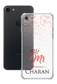 Triangle Dotted Design with Mr Text For iPhone SE 2020 Your Photo on Transparent Mobile Cases