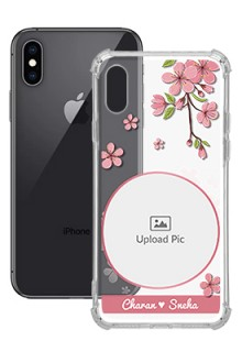 Pink Floral single image with Name For iPhone XS Personalised Transparent Clear Phone Case
