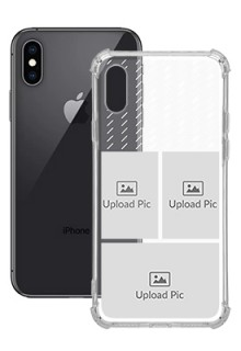 3 images with Text For iPhone XS Custom Transparent Clear Phone Case