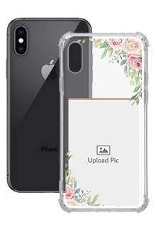 Floral Design Theme For iPhone XS Your Photo on Transparent Mobile Cases