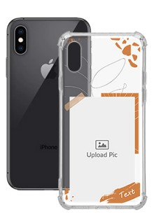 Orange Photo Frame For iPhone XS Your Photo on Transparent Mobile Cases