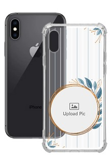 Blue Leaves Design For iPhone XS Custom Transparent Clear Phone Case