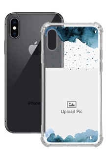 Blue Water Color For iPhone XS Personalised Transparent Clear Phone Case