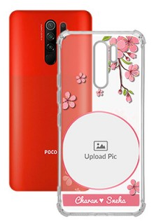 Pink Floral single image with Name For Poco M2 Personalised Transparent Clear Phone Case