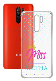 Dotted Design with Miss Text For Poco M2 Custom Transparent Clear Phone Case