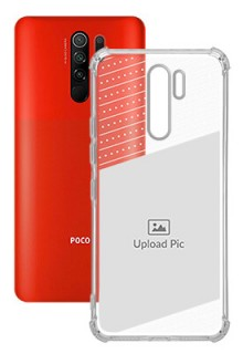 Black Dotted Design with Text For Poco M2 Personalised Transparent Clear Phone Case
