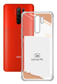 Peach Colour Photo Frame with Name For Poco M2 Customized Transparent Mobile Cases