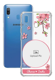 Pink Floral Single image with Name For Galaxy A20 Personalised Transparent Clear Phone Case