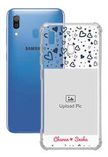 Blue Love Theme with Name For Galaxy A20 Customized Transparent Mobile Cases