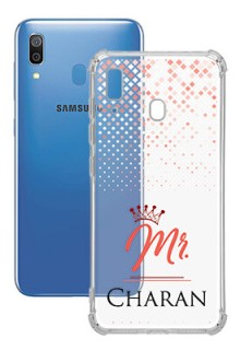 Triangle Dotted Design with Mr Text For Galaxy A20 Your Photo on Transparent Mobile Cases