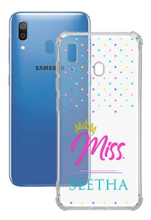Dotted Design with Miss Text For Galaxy A20 Custom Transparent Clear Phone Case