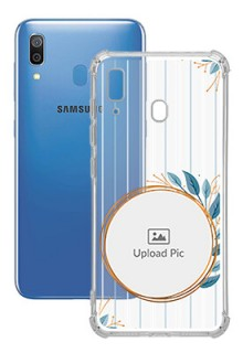 Blue Leaves Design For Galaxy A20 Custom Transparent Clear Phone Case