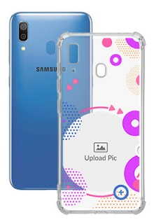 Purple Coloured Round For Galaxy A20 Personalised Transparent Clear Phone Case