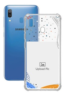 Wave Lines Dotted For Galaxy A20 Your Print on Transparent Phone Cases