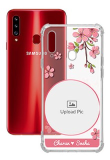 Pink Floral Single image with Name For Galaxy A20S Personalised Transparent Clear Phone Case